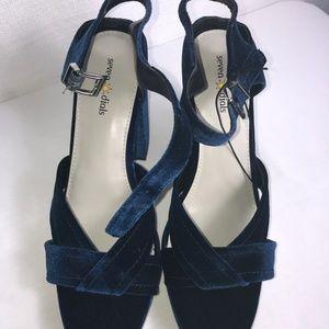 Seven Dials Blue Velvet Ankle Strap Heels 11